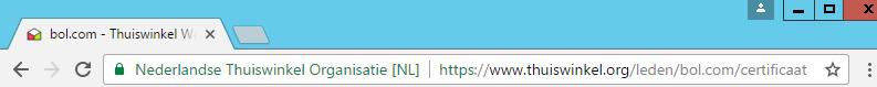 adresbalk met bol.com, goede url certificaat en groen slotje